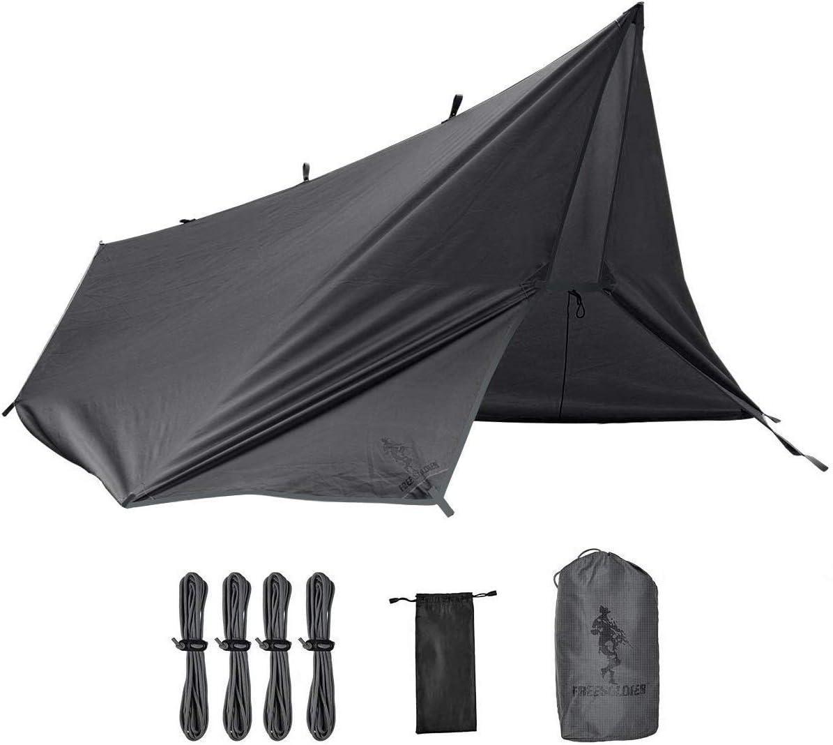 FREE SOLDIER Toldo de Acampada y Deportes al Aire Libre Impermeable Portable Multifuncional para Viajar Tienda de campaña Toldo Refugio Parasol Toldo (Gris sin uñas): Amazon.es: Deportes y aire libre