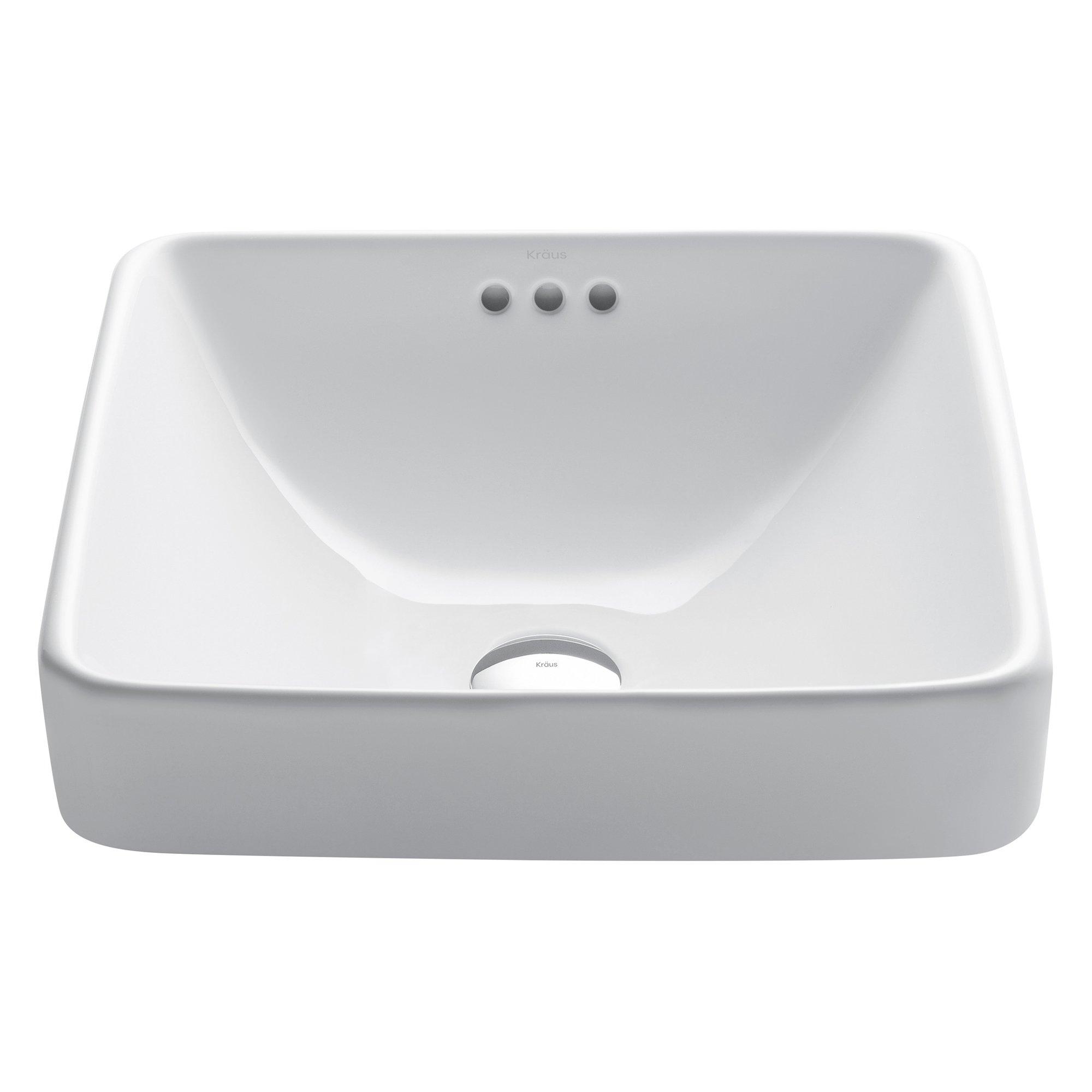 Kraus KCR-281 Modern Elavo Ceramic Square Semi-Recessed Bathroom Sink with Overflow, White