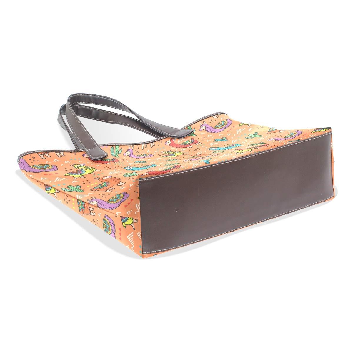Womens Leather Alpaca And Cactuses Orange Handbag Satchel Tote Bag Tote Purse