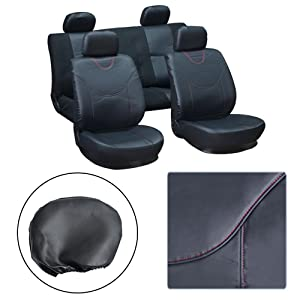 OCPTY Car Seat Cover, Stretchy Universal Seat Cushion w/Headrest Cover Breathable Automotive Accessories Semi-PU Leather Polyester for Most Cars(Black)