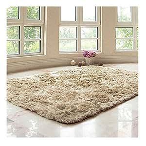 Top Home High Quality Fabric Doormat Entrance Mat Absorbent Antiskid Super Soft Smooth Silky Floor Mats (Khaki, 40cm*60cm(15Inch*23Inch))