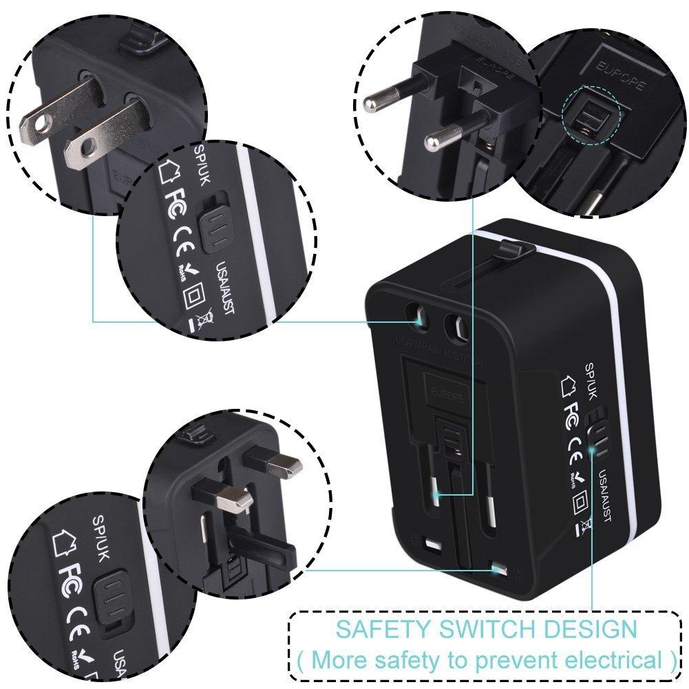 Adaptador Enchufe de Viaje Universal Enchufe Adaptador Internacional con Dos Puertos USB para US EU UK AU Acerca de 150 Pa/íses y Seguridad de Fusibles para Tableta PC Smartphones C/ámaras Digitales