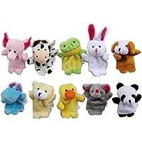 AKORD 10 marionetas de dedo, Forma de animal. 10piezas por pack.