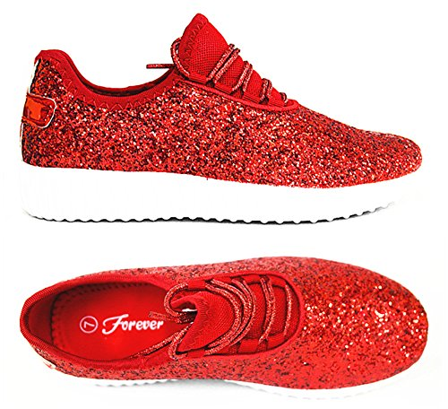 SF Forever Link Remy-18 Women's Jogger Sneaker-Lightweight Glitter Quilted Lace Up Shoes New (6.5 B(M) US, Red-18)