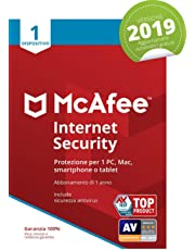 McAfee Internet Security 2019 | 1 Dispositivo| Abbonamento di 1 anno | PC/Mac/Smartphone/Tablet |  Codice di attivazione via mail