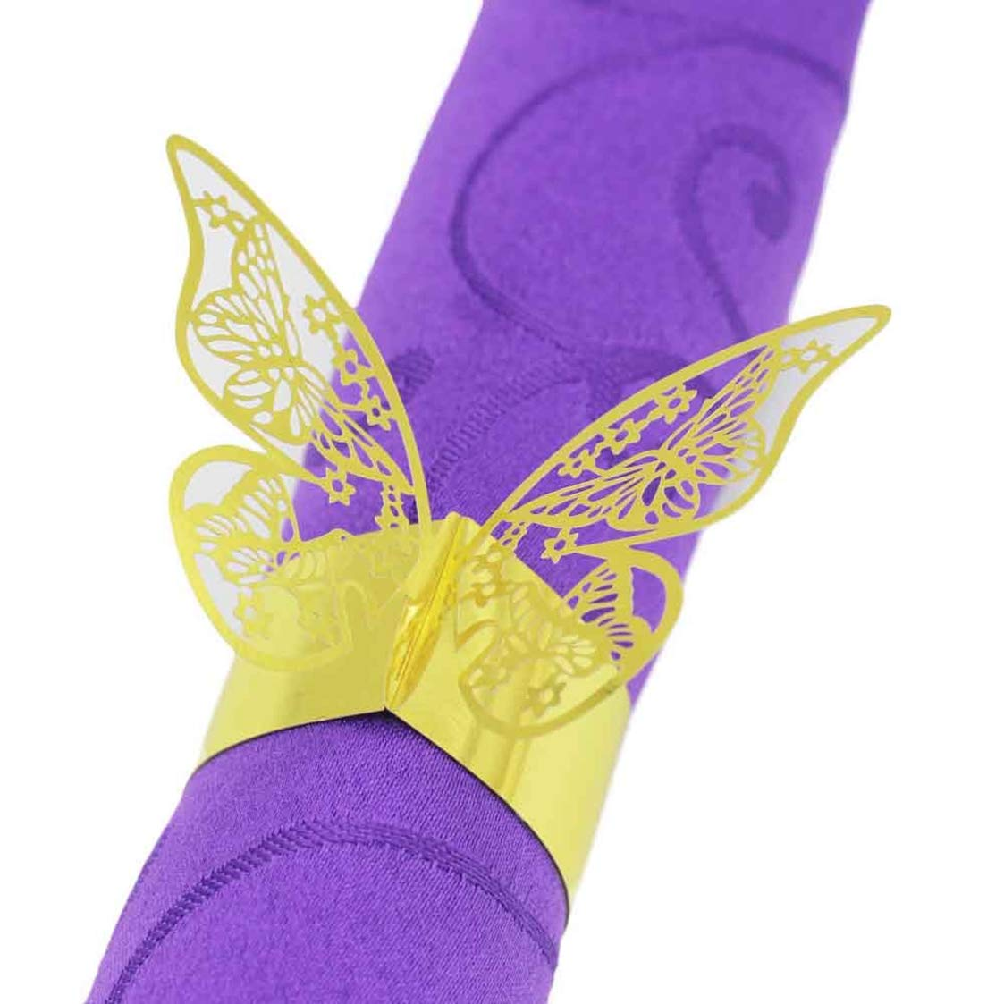 50 Pcs Laser Cut Cards Napkin Rings Wrappers Table Decoration Butterfly Wedding Party Favors Paper Decor