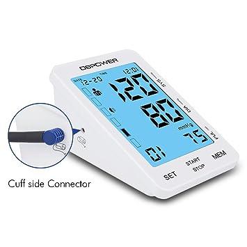 DBPOWER Tensiómetro digital para la parte superior del brazo, sensibilidad al tacto, muestra una alerta en color de hipertensión, modos de usuario de 90x2, ...