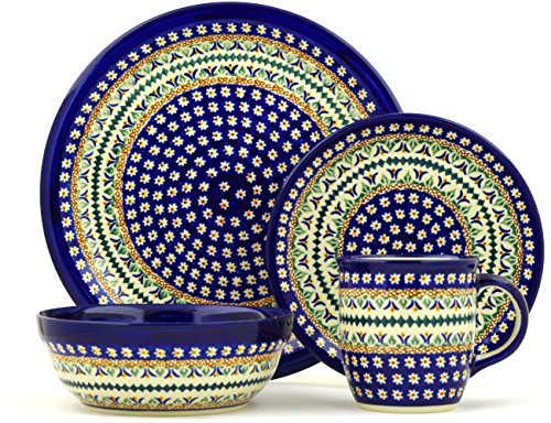 Polish Pottery 4 pc Place Setting (10¾ dinner plate, 7½ dessert or side plate, 6¾ bowl and a 12 oz. mug) Floral Peacock UNIKAT