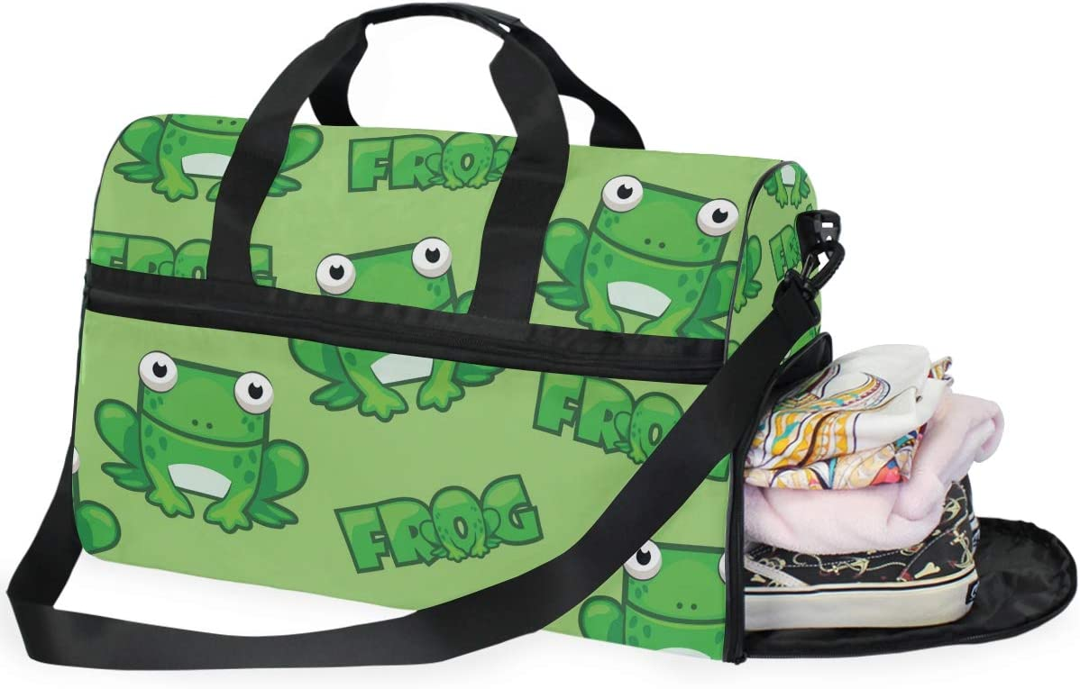 Travel Duffels Square Frog Duffle Bag Luggage Sports Gym for Women /& Men