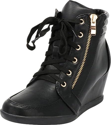 e09afa860bdb Cambridge Select Women s Lace-Up Zipper Wedge Heel Fashion Sneaker (6 B(M