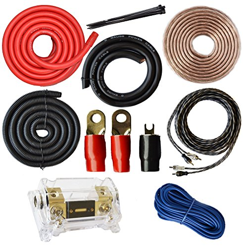 SoundBox Connected 0 Gauge Amp Kit Amplifier Install Wiring 1/0 Ga Pro Installation Cables 5000W (Power Car Amp Audio)