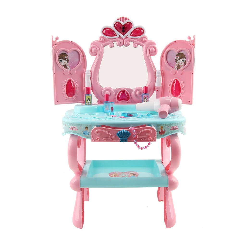 Fashionhe Fantasy Vanity Beauty Dresser Table with Hi-fi Microphone & Makeup Accessories Toy Dressing Table (B, 44x32x73cm)