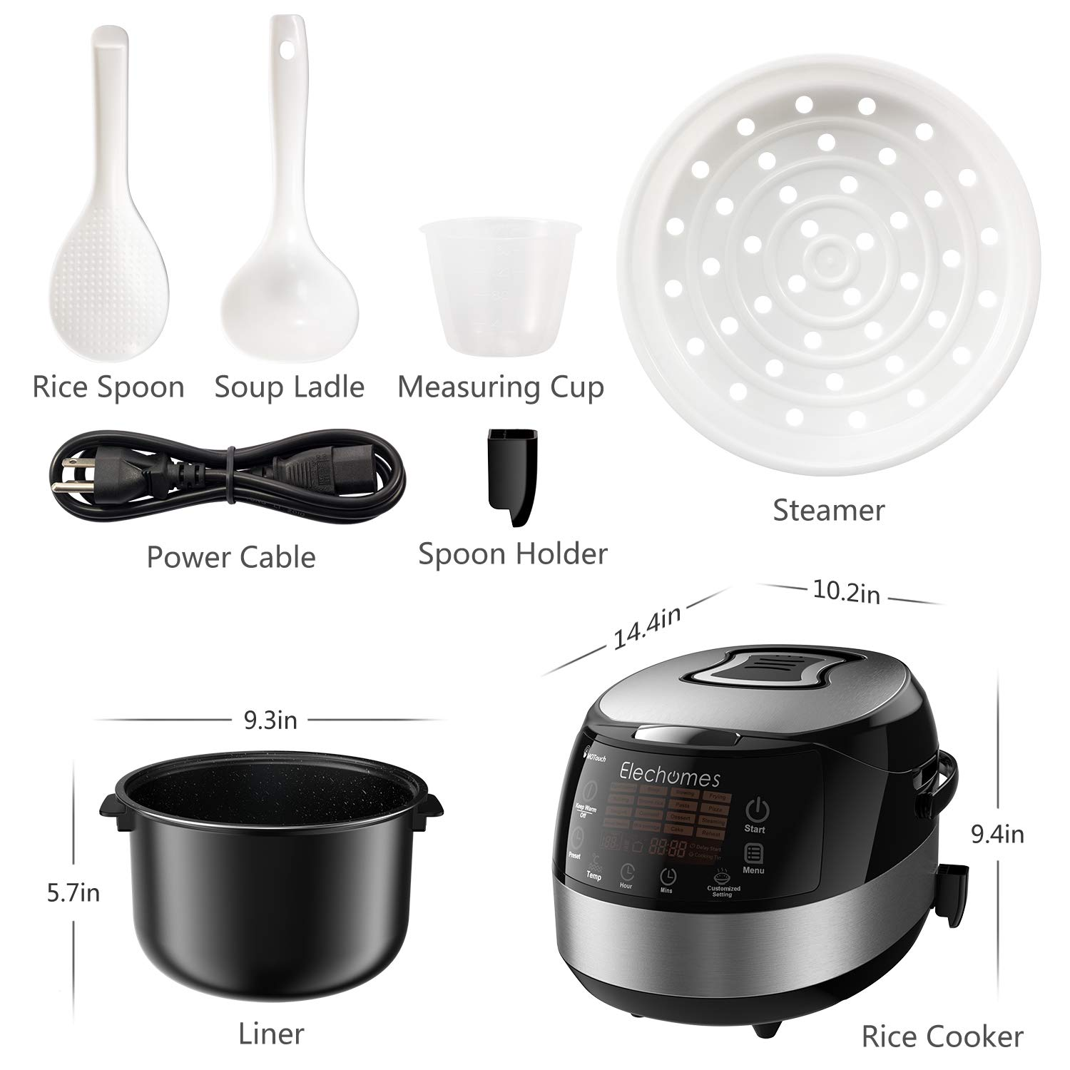 Elechomes LED Touch Control Rice Cooker, 16-in-1 Multi-function Cooker, 10-Cups Uncooked Warmer Cooker with Steam & Rinse Basket, CR502 by Elechomes (Image #8)