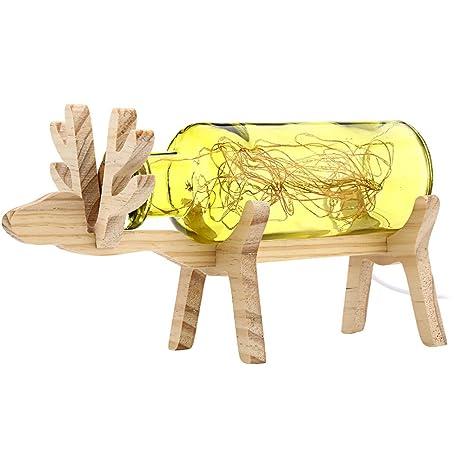 LEDMOMO Lámpara de vidrio de madera de los ciervos de la ...