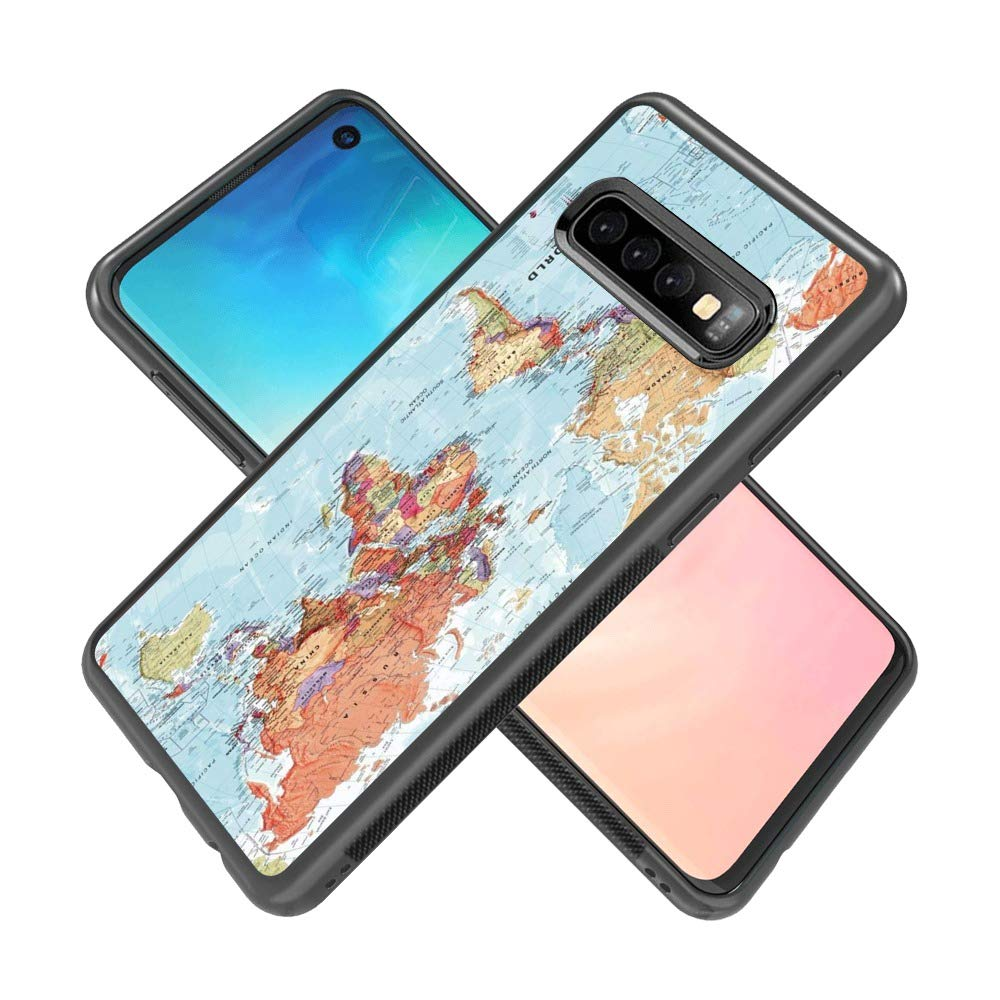545cb27cb47 Amazon.com: Samsung Galaxy S10 Plus World Map Case TPU Full Body Protective  Shock-Absorbing Lightweight Black Frame Phone Cover [1 Pack]: Cell Phones &  ...