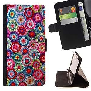 Momo Phone Case / Flip Funda de Cuero Case Cover - Knitting Artesanías Arte Tela modelo colorido - Samsung Galaxy E5 E500