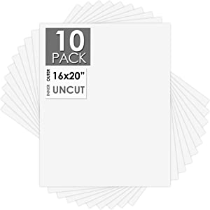 Mat Board Center, 16x20 Uncut Boards - Full Sheet - for Art, Prints, Photos, Prints and More, White Color, 10-Pack