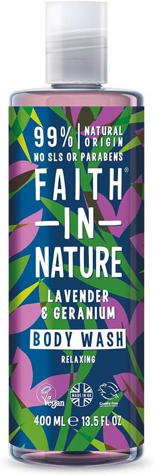 Faith in Nature Gel de Baño Natural de Lavanda y Geranio, Nutritivo, Vegano y No Testado en Animales, sin Parabenos ni SLS, 400 ml