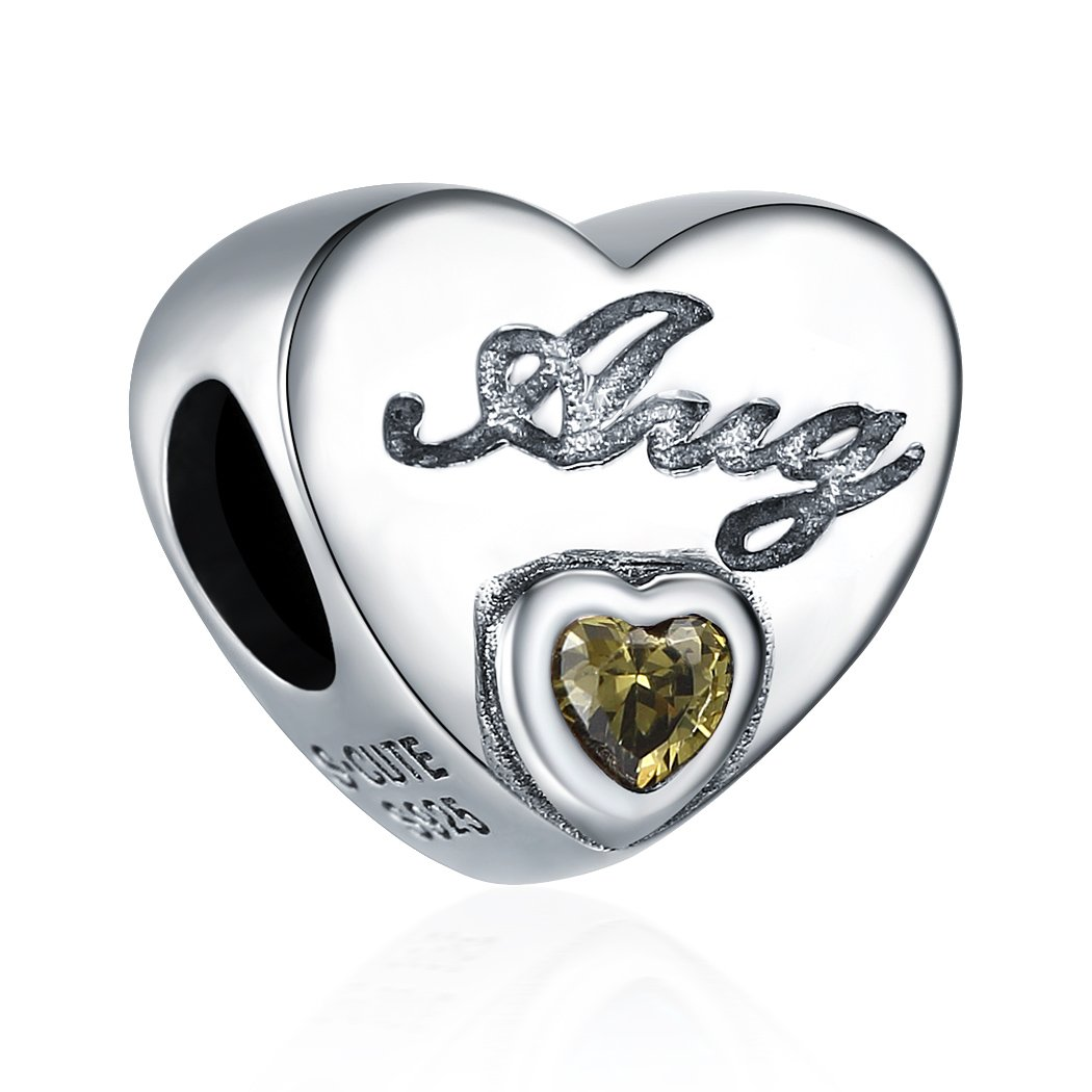 August Birthstone Charms 925 Sterling Silver Initial Heart Bead Charm for Bracelet
