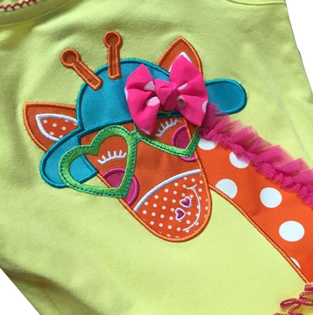 eKooBee Little Girls Giraffe Cake Dress Pant Set