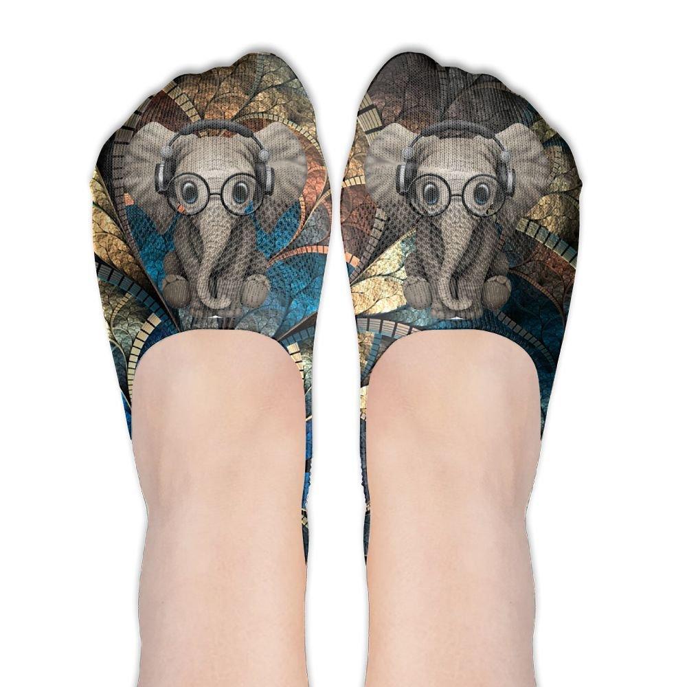 Elephant Glasses Polyester Cotton Deodorant Ankle Socks Non Slip Socks For Women Girl