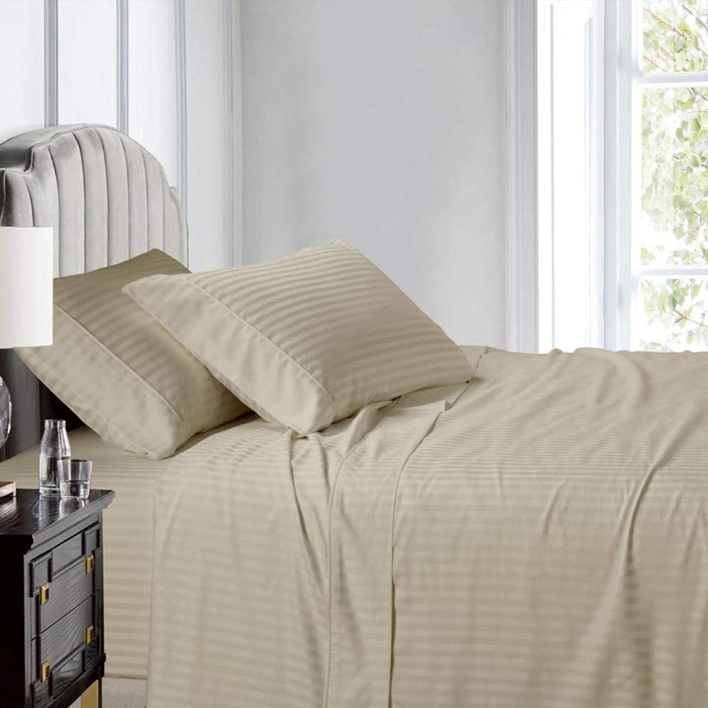 Deluxe Tradition Crisp, Breathable and Lavishly Soft 100% Long Staple Cotton Full Sheets and Pillowcases; Rich Linen 300 Thread Count Damask Striped Sateen Weave