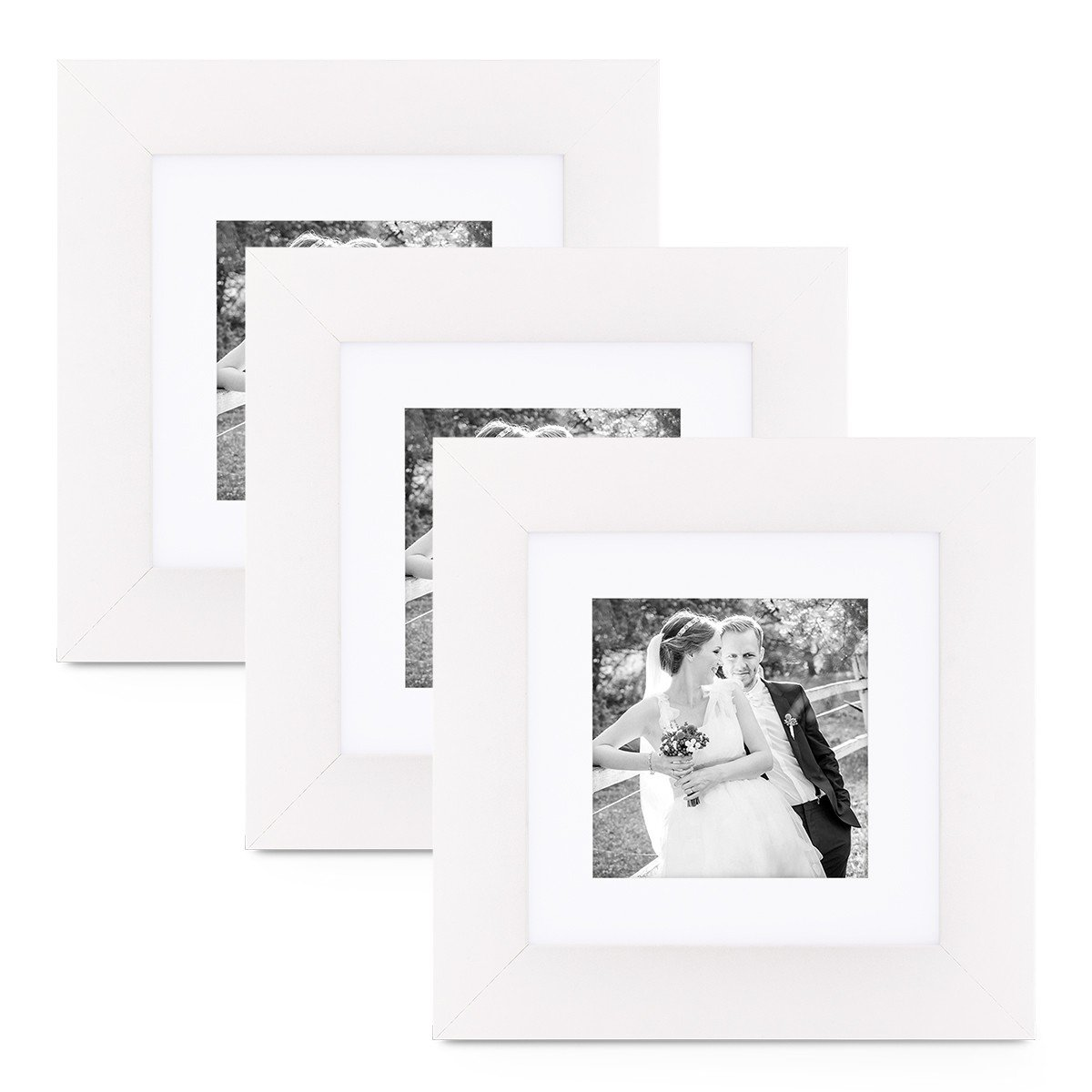 PHOTOLINI 3er Set Bilderrahmen 20x20 cm Weiss Modern Breit aus MDF ...