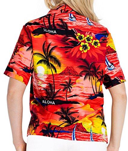 collar de ropa de playa dep�sito de blusa con botones encubrir camisa hawaiana de manga corta damas Rojo