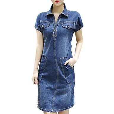 b4f9cafdfd EFINNY Summer Women Denim Dress Short Sleeve Casual Mini Dresses with  Pockets  Amazon.co.uk  Clothing