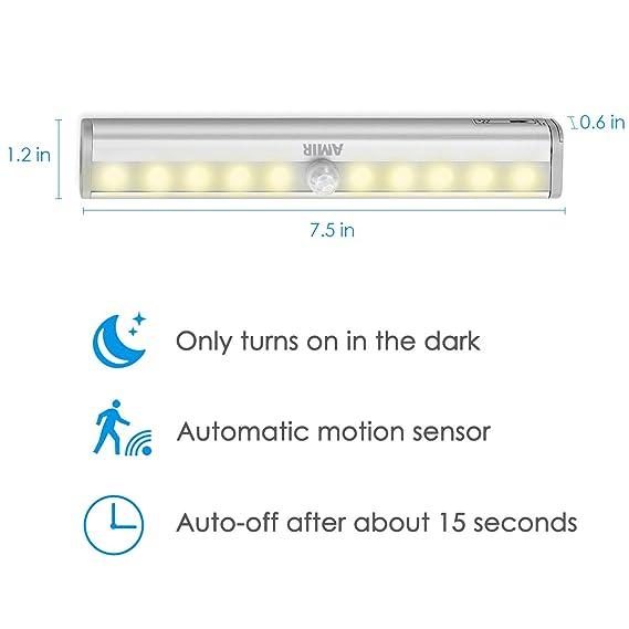 AMIR LED Armario iluminación, USB recargables Sensor de movimiento luz, 10 LED Gabinete Luz nocturna, Auto on/off PIR Motion Sensing Luz para ropa, ...