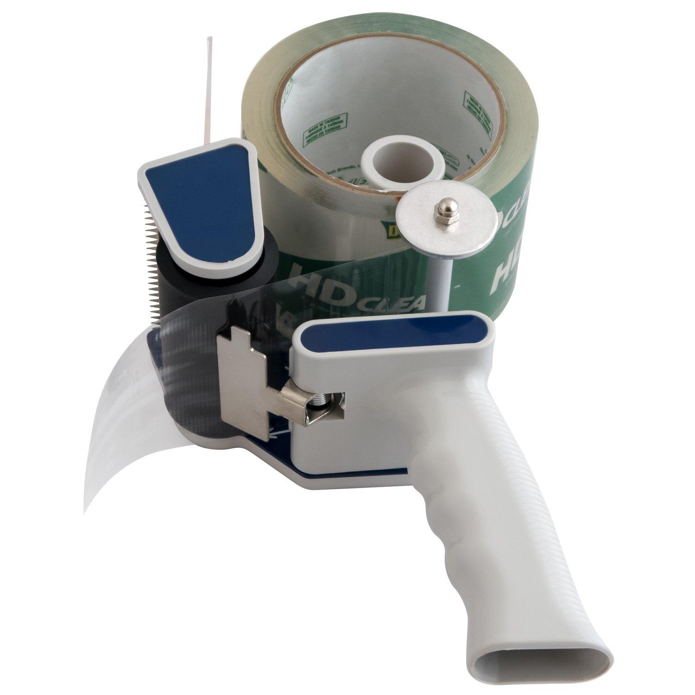 Detroit Packing Co. Low Noise Quiet Tape Gun Dispenser, 3'' inch core (72 mm), Low Waste Packaging (Blue-Grey)