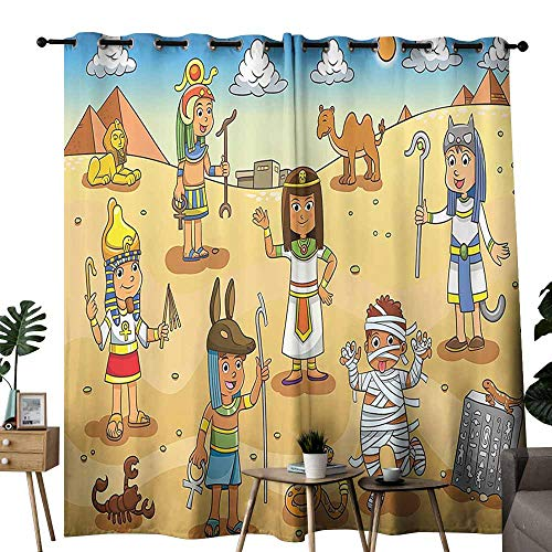 Cartoon Decor Wedding Party Home Window Decoration Illustration of Historical Egyptian Characters with Pyramids Cleopatra King Mummy Child Decor Curtains are Long Lasting W72 xL84 Multi -