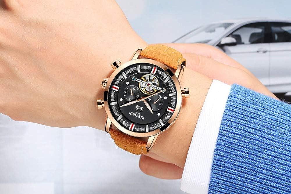 Orologi Uomo,Orologio Da Polso Meccanico Completamente Automatico Con Cinturino In Pelle Quadrante Grande E Volano B