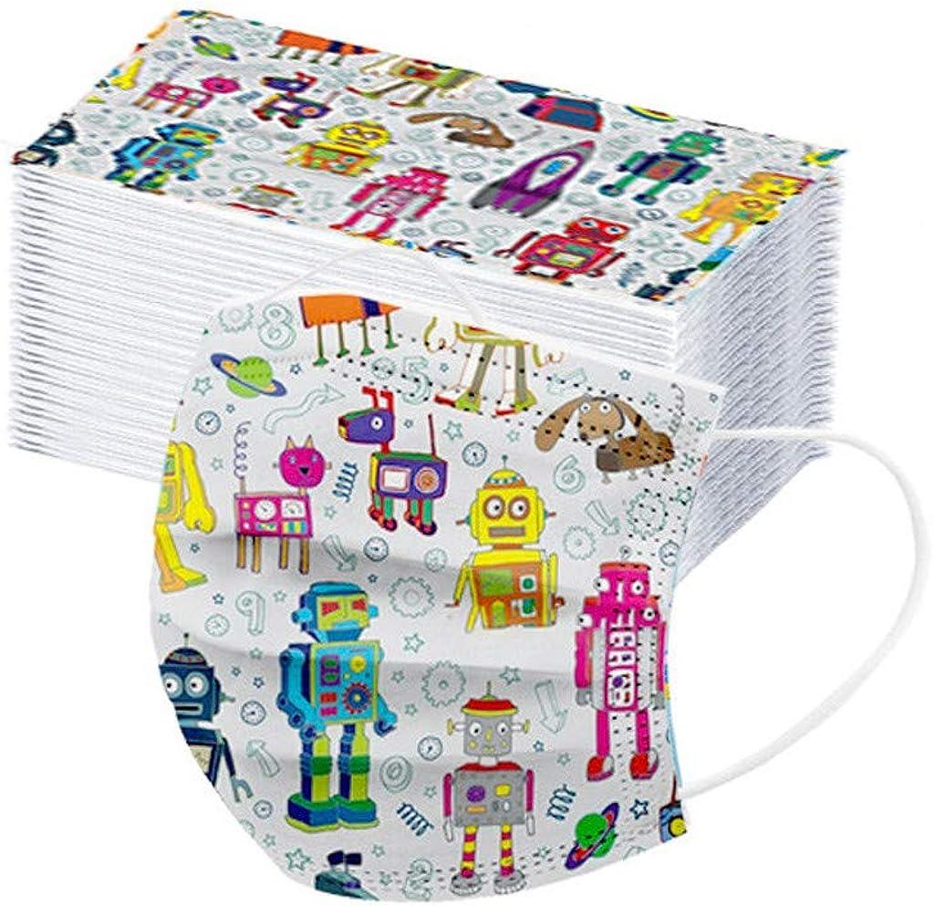 Aomili 50 Piezas Niños Niñas 3 Capas Disposable,Suave Bufanda Transpirable Protección Personal Diaria,Infantil Patrón de Robot de Dibujos Animados,para Uso diario