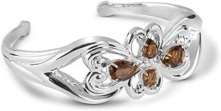 product image for Carolyn Pollack Sterling Silver Cognac Quartz Gemstone November Birthstone Cuff Bracelet - Size Medium