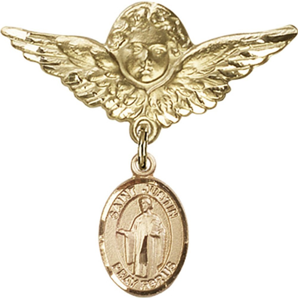 14kt Yellow Gold Baby Badge with St. Justin Charm and Angel w/Wings Badge Pin 1 1/8 X 1 1/8 inches by Unknown