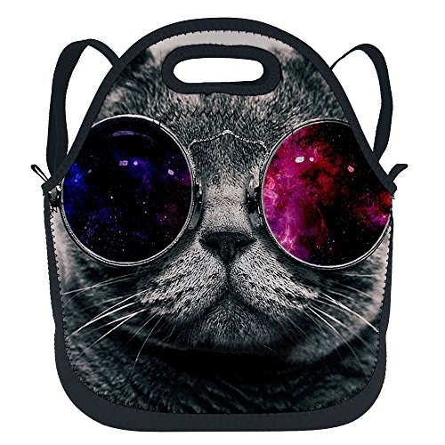 - oFloral Cat Insulated Neoprene Lunch Tote Bag Cat Face With Galaxy Space Glasses Lunchbox School Backpack With Shoulder Strap For Children Kids Teens Boys Girls Women Grey Red Black