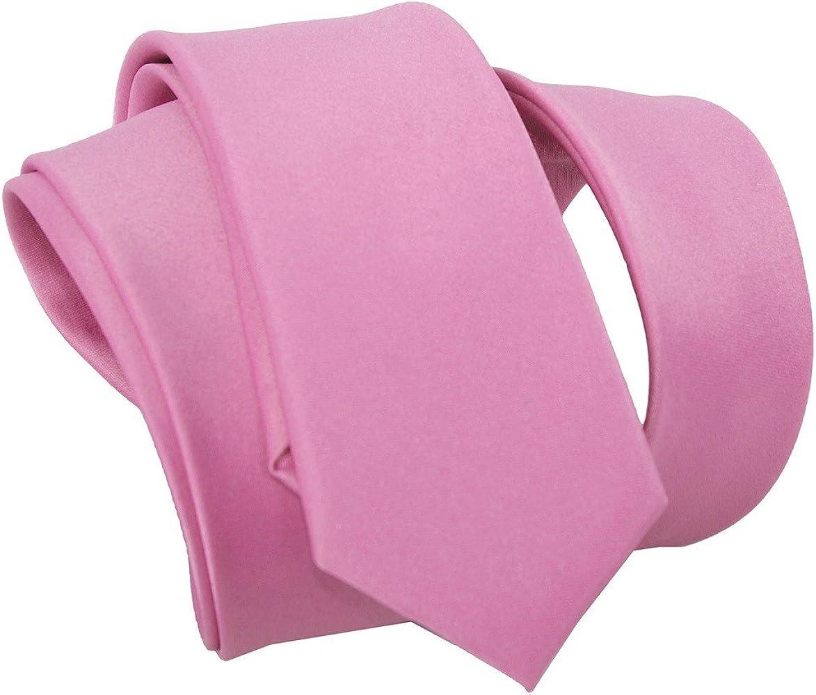 Corbata hombre mujer slim LUCIO LAMBERTI corbata rosa color sólido ...