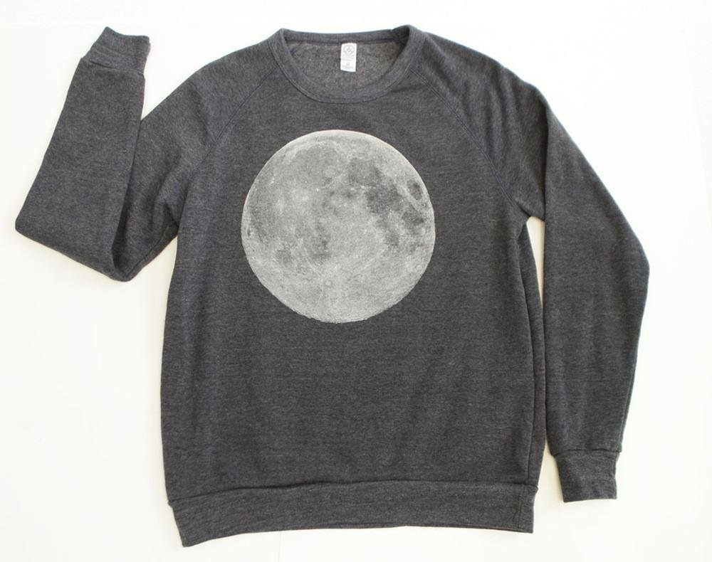 full MOON navy blue HEATHERED super soft unisex SWEATSHIRT -- size XS-XXL