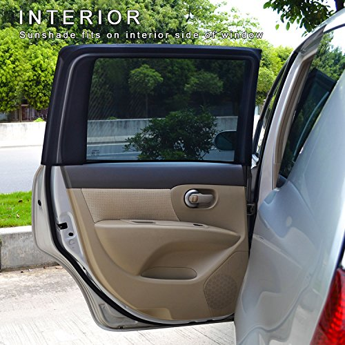 TFY Universal Car Side Window Sun Shade - Protects Your Kids from Sun Burn - Single Layer Design - Maximum Visibility - Fit Most of Ford, Audi, BMW, Honda, Nissan - 2 Pieces (Rectangular Window)