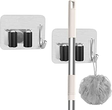 Multipurpose Stainless Steel Wall Mount Organizer Storage Heavy Duty Tools for Kitchen Bathroom Garden 1Rack . 2 PCS Mop and Broom Holder Garden
