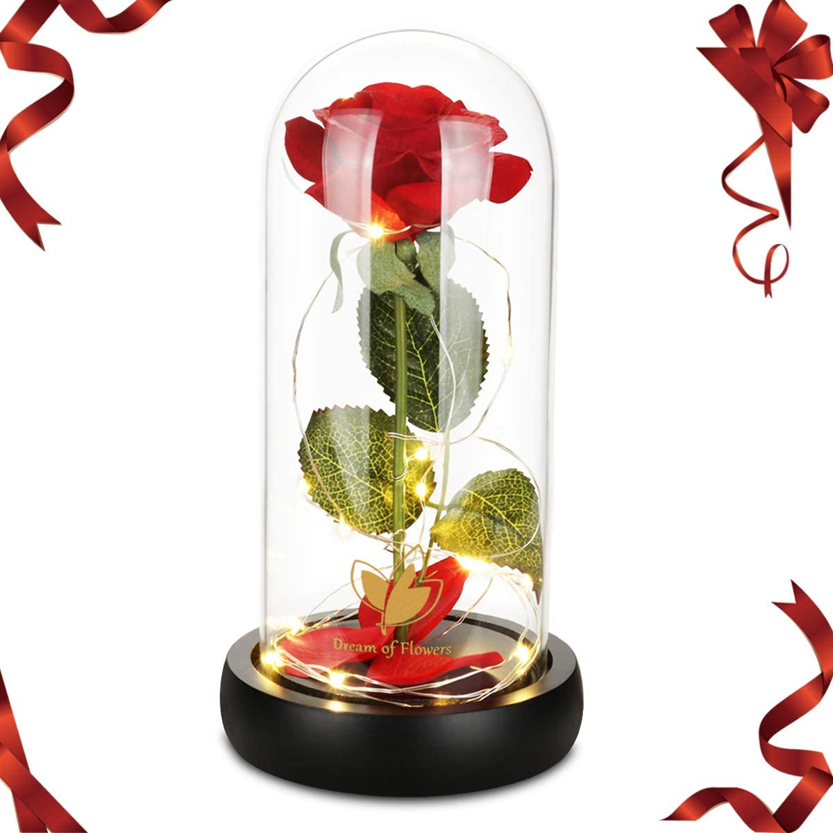 Beauty and the Beast Rose, Enchanted Red Silk Rose with Fallen Petals in Glass Dome on a Wooden Base Best Gift for Home/Office or Home Decorations, Anniversary, Birthday Gift, Mother's Day Gifts