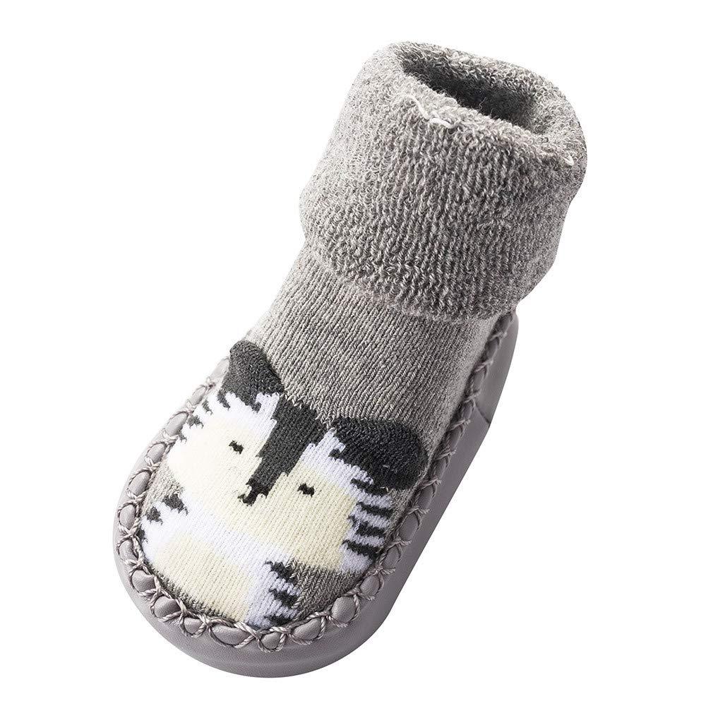 NUWFOR Newborn Baby Boys Girls Cartoon Cute Warm Floor Socks Anti-Slip Baby Step Socks(Gray,0-3Months