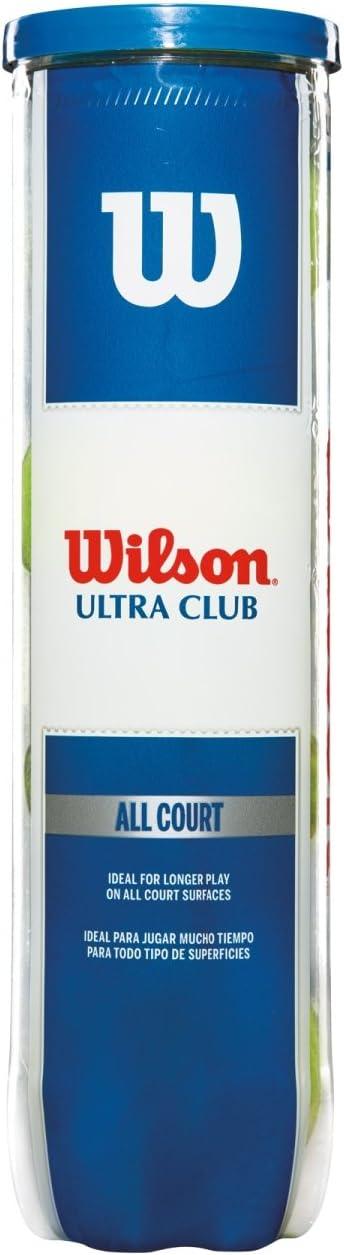 Wilson Pelotas de tenis, Ultra Club All Court, Para todas las pistas, Juego de 4 pelotas, WRT116000