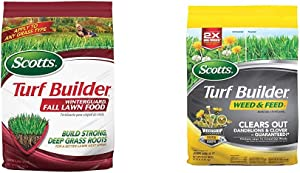 Scotts Turf Builder WinterGuard Fall Lawn Food, 12.5 Lb - Covers 5,000 Sq Ft & Turf Builder Weed and Feed 3, 5,000 Sq. Ft.