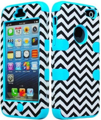 New Case I&t - Bastex Hybrid Hard Case for Apple Ipod Touch 5, 5th Generation - Sky Blue Silicone with Black & White Chevron Pattern [Compatible with iPod Touch 6]