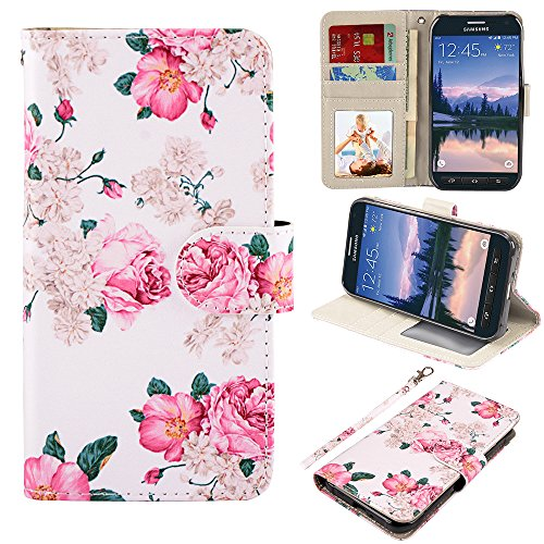 UrSpeedtekLive S6 Active Case, Galaxy S6 Active Wallet Case, Premium PU Leather Wristlet Flip Case Cover with Card Slots & Stand for Samsung Galaxy S6 Active, Flower 2 (NOT for Galaxy S6)