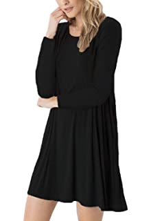 c0e075ac52 DEARCASE Women s Long Sleeve Swing Loose Flowy Short Casual Tunic Shirt  Mini Dress