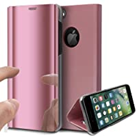 iPhone 8 Case,iPhone 7 Case,ikasus Ultra-Slim Luxury Hybrid Shock-Absorption Electroplate Plating Mirror Makeup Case Cover PU Leather Flip Stand Kickstand Protective Case Cover for Apple iPhone 7 / iPhone 8,Rose Gold