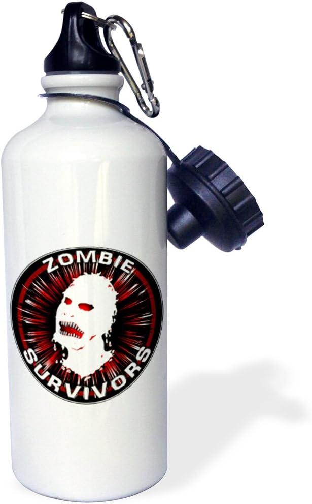 Amazon Com 3drose Icon Zombie Survivors 3 On White Sports Water Bottle 21 Oz White Kitchen Dining